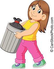 μακριά , βολή , γυναίκα , σκουπίδια