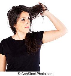 μαλλιά , γυναίκα , ανυπάκοος , νέος