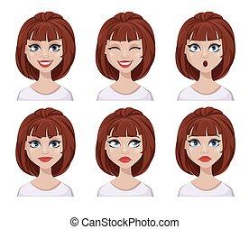 μαλλιά , καφέ , εκφράσεις , γυναίκα αντικρύζω