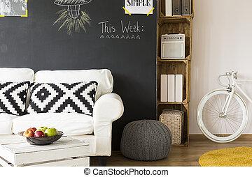 μανιώδης της τζάζ , δωμάτιο , με , ξύλινος , furnitures