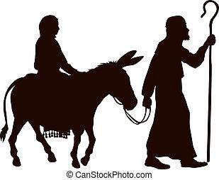 μαρία , και , ιωσήφ , απεικονίζω σε σιλουέτα