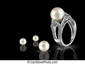 μαργαριτάρι , δακτυλίδι , διαμάντι