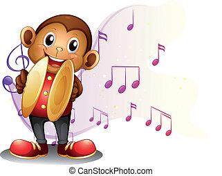 μαϊμού , κύμβαλα , παίξιμο
