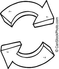 μαύρο , άσπρο , ανακύκλωση , βέλος , γελοιογραφία