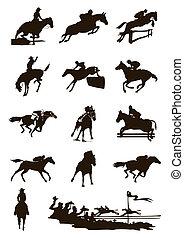 μαύρο , απεικονίζω σε σιλουέτα , από , άλογα , επάνω , ένα , άσπρο , φόντο. , ένα , μικροβιοφορέας , εικόνα