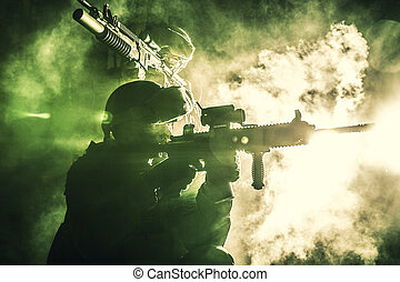 μαύρο , απεικονίζω σε σιλουέτα , από , στρατιώτες