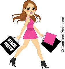 μαύρο γυναίκα , ψώνια , παρασκευή