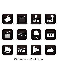 μαύρο , κουμπιά , επάνω , ένα , κινηματογράφοs , theme., ένα , μικροβιοφορέας , εικόνα