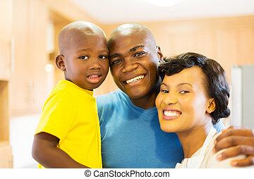 μαύρο , πάνω , νέος , πορτραίτο , κλείνω , οικογένεια