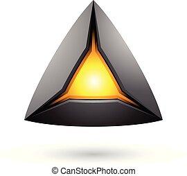 μαύρο , πυραμίδα , με , ένα , λαμπερός , πυρήνας ,...