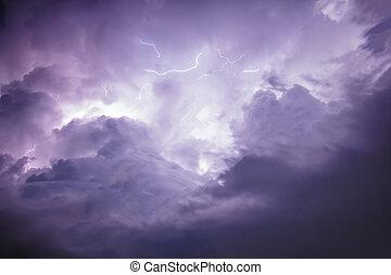μαύρο σύννεφο , ουρανόs , καταιγίδα , lightning.