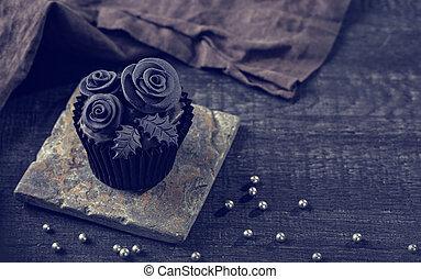 μαύρο , cupcakes , επάνω , ένα , ξύλινος , φόντο