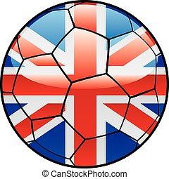 μεγάλη βρετανία , σημαία , επάνω , μπάλλα ποδοσφαίρου