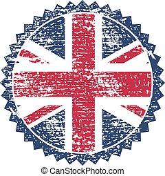 μεγάλη βρετανία , grunge , γραμματόσημο , με , ένωση ,...