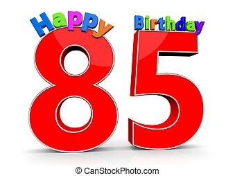 μεγάλος , αριθμόs , γενέθλια , ευτυχισμένος , κόκκινο , 85