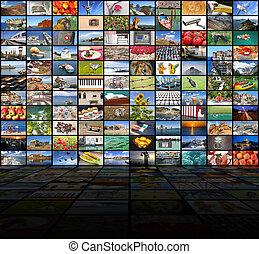 μεγάλος , βίντεο εξωτερικός τοίχος οικοδομής , από , ο , tv αλεξήνεμο