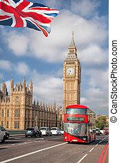 μεγάλος βουνοκορφή , με , κόκκινο , λεωφορείο , μέσα , λονδίνο , αγγλία , uk