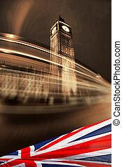 μεγάλος βουνοκορφή , με , σημαία , από , αγγλία , λονδίνο , uk