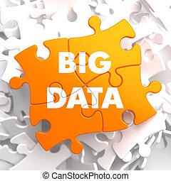 μεγάλος , δεδομένα , επάνω , πορτοκάλι , puzzle.