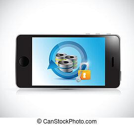 μεγάλος , εικόνα , δίσκος , τηλέφωνο , ασφάλεια , δεδομένα