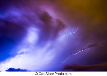 μεγάλος , καταιγίδα , ανατρέπω , κεραυνός , αστραπή , και , rain.