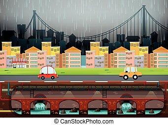 μεγάλος , μοντέρνος , πόλη , βρέχει