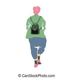 μεγάλος σάκος σκουπιδιών , πράσινο , ευρύς , περίγραμμα , ανώριμος δεσποινάριο , ροζ , & , παντελόνια , κούρεμα , καθιερώνων μόδα , παλτό