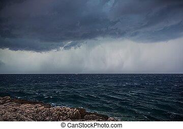 μεγάλος , φωτογραφία , πάνω , θάλασσα , καταιγίδα