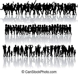 μεγάλος , collection., απεικονίζω σε σιλουέτα , από , άνθρωποι , concept.