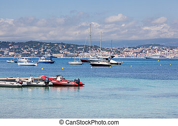 μεγάλος , island., cannes:, γιωτ , αγκυροβόλησα , lerins, μικρό , βλέπω