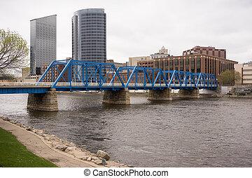 μεγαλειώδης , καταρράκτης , michigan , κάτω στην πόλη , άστυ γραμμή ορίζοντα , προκυμαία , γέφυρα
