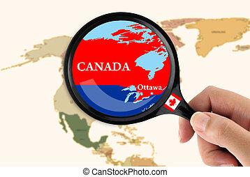 μεγεθυντικός φακός , πάνω , ένα , χάρτηs , από , καναδάs
