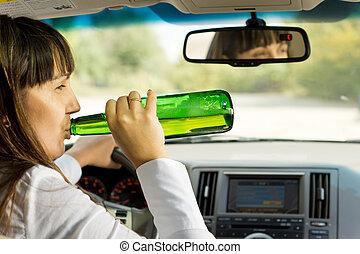 μεθυσμένος , πόσιμο , γυναίκα , οδήγηση