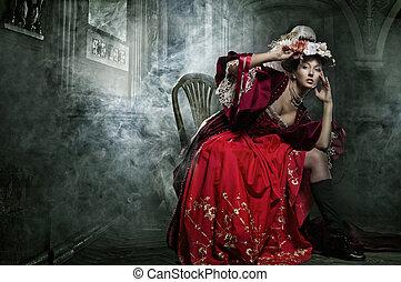 μελαχροινή , κρασί , διατυπώνω , αβρός , σκεπτικώς , φόρεμα