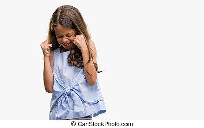 μελαχροινή , success., ανέθρεψα , πολύ , concept., νικητήs , όπλα , ερεθισμένος , ισπανικός , ευθυμία αίσιος , σκούξιμο , κορίτσι , χειρονομία , εορτασμόs
