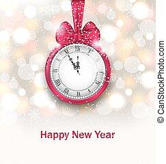 μεσάνυκτα , λαμπερός , καινούργιος , φόντο , ρολόι , έτος