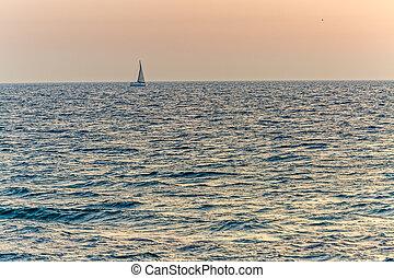 μεσογειακός , ηλιοβασίλεμα , απόπλους , θάλασσα