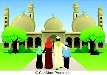 μετάβαση , τζαμί , οικογένεια , μουσελίνη