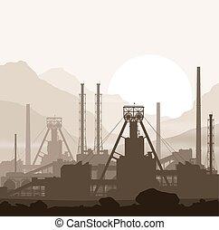 μεταλλικός , λιπάσματα , εργοστάσιο , πάνω , ηλιοβασίλεμα , μέσα , βουνά