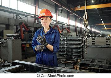 μεταλλουργικός , βιομηχανία , γυναίκα