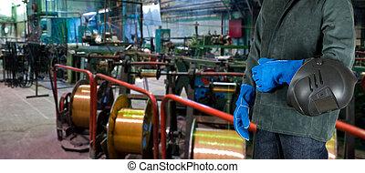 μεταλοκολλητής, εργάτης, εργοστάσιο