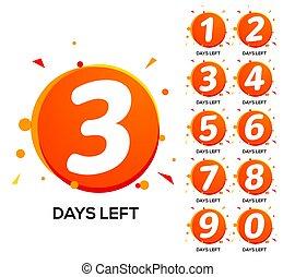 μετρώ , αντίστροφη μέτρηση , αριθμόs , πώληση , εις , days., εβδομάδα , τρία , ώρα , σημαία , ημέρα , δυο , αριστερά