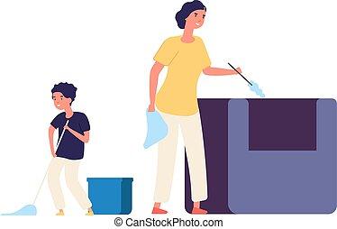 μητέρα , απομακρύνω , floor., εξοπλισμός , μικροβιοφορέας , εικόνα , οικογένεια , δίπλα. , σπίτι , πλύση , οικιακή εργασία , σκόνη , ώρα , cleaning., ξοδεύω , υιόs