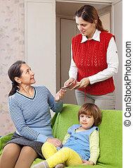 μητέρα , νταντά , hires, παιδί , αυτήν