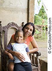 μητέρα , παιδιά , νικαράγουα , καλαμπόκι , νησί