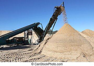 μηχανή , άμμοs , ενισχύω , αποκοσκινίδια