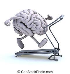 μηχανή , εγκέφαλοs , τρέξιμο , ανθρώπινος