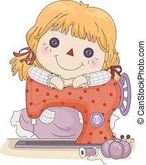 μηχανή , κορίτσι , ράψιμο , παιδί , κούκλα