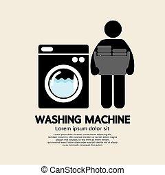 μηχανή , πλύση , εικόνα , σύμβολο , μαύρο , μικροβιοφορέας , εικόνα