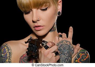 μηχανή , τατουάζ , γυναίκα , έκανα τατουάζ , νέος
